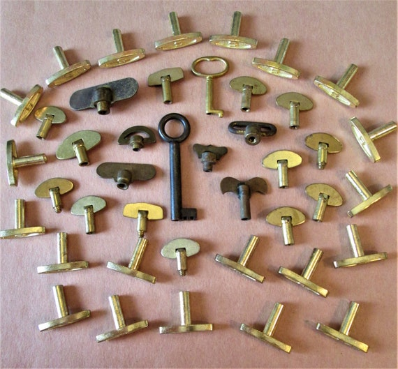 42 Assorted Vintage Brass Alarm Clock/Music Box Keys and Winders for your Projects, Steampunk Art and Etc...Stk#205