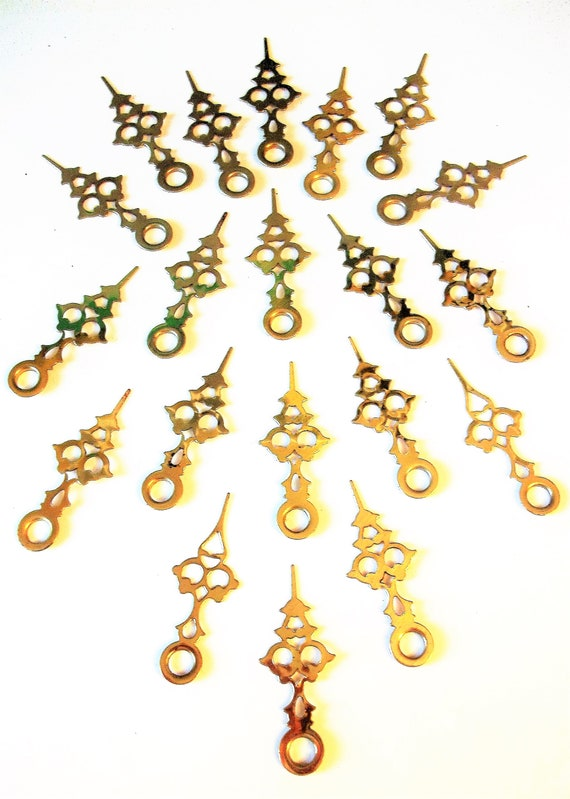"""20 Vintage 1 5/8"""" Shiny Brass Plated Serpentine Style Clock Hour Hands for your Clock Projects, Jewelry Making - Xmas Ornament Making"""