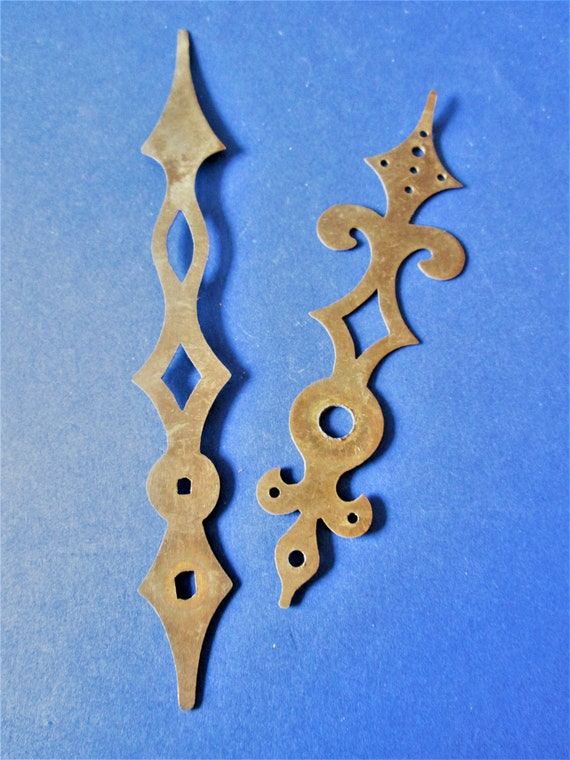1 Pair of Fancy Diamond Design Solid Brass Antique Clock Hands for your Clock Projects - Art - Stk# 490