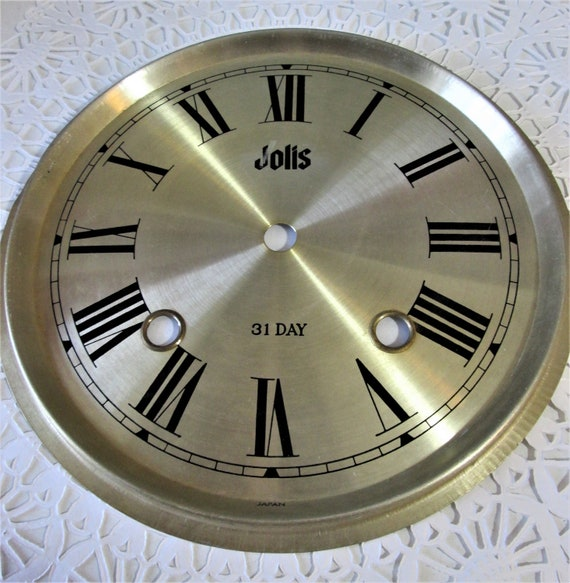"""7 1/2"""" New Shiny Brass Colored Aluminum Jolis Brans Clock Dial with 7/8"""" Roman Numerals Stk#102"""