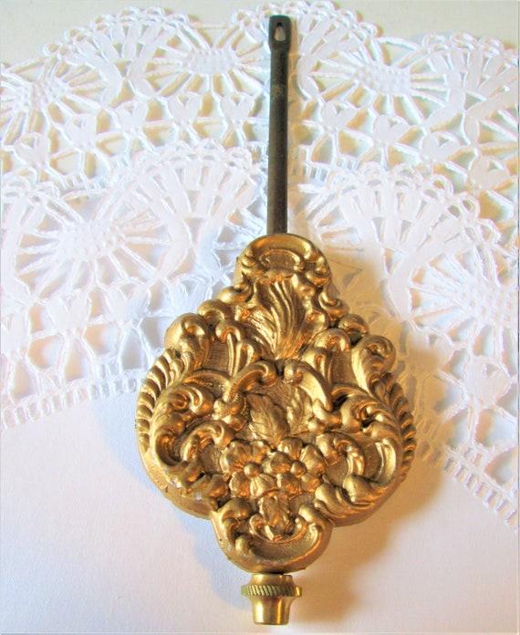 """6 1/4""""  Fancy Cast Metal Kitchen Clock Pendulum 3.2 ounces - Reproduction - Stk# 730"""