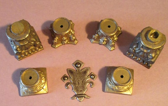 3 Sets of 2 Antique Cast Metal Mantle Clock Feet for your Clock Projects - Steampunk Art - Metalwork
