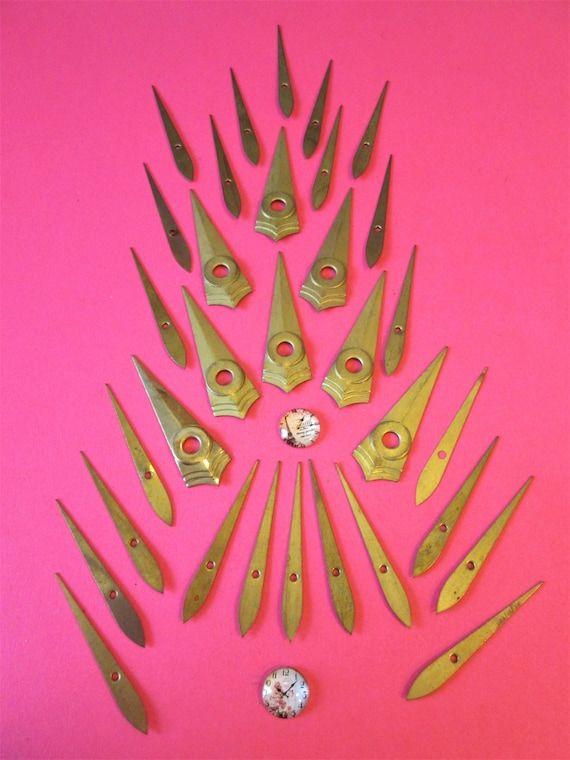 32 Assorted Old Solid Brass Clock Hands for your Clock Projects - Jewelry Making Stk#240