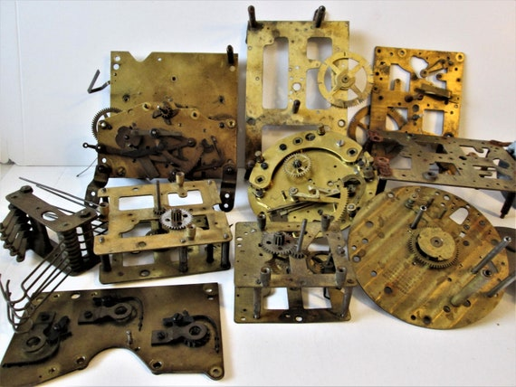 Large Lot of Antique Clock Mounting Plates with Attached Parts - Kienzle, New Haven, Seth Thomas & E. Ingraham Clock Companies