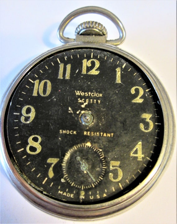 1 Vintage Westclox Scotty Partial Pocket Watch for Repair/Parts Stk# W18