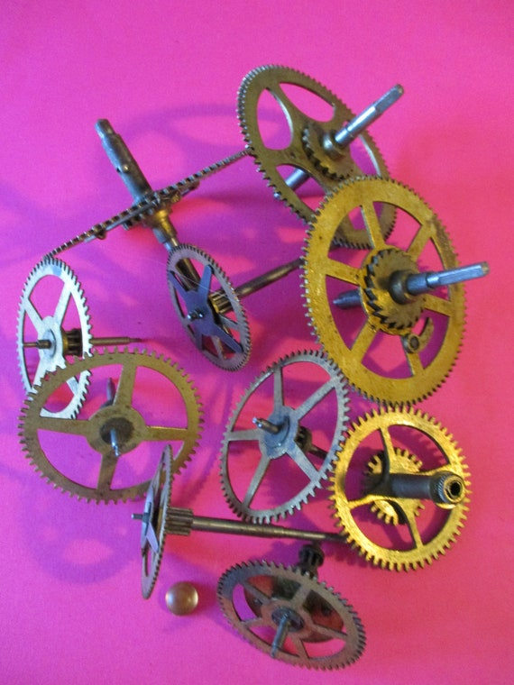 10 Large Brass and Steel Antique Clock Wheels with Assorted Parts Attached for your Clock Projects - Steampunk Art - Stk# 173