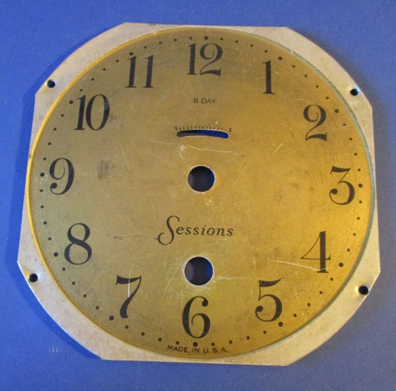 """4 7/8"""" Total Width Sessions 8 Day Pressed Tin Clock Dial for your Clock Projects - Art - Stk# 588"""