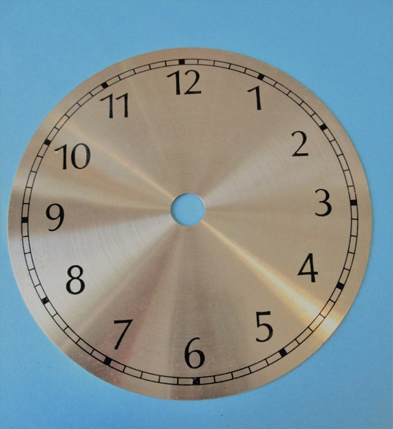 "1  4 3/4"" Brass Colored Aluminum Clock Dial with 3/8"" Black Numbers"