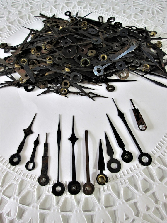 200+ Old Rusty & Dusty Black Steel Clock Hands for your Clock Projects - Steampunk Art and Etc.. Stk#124