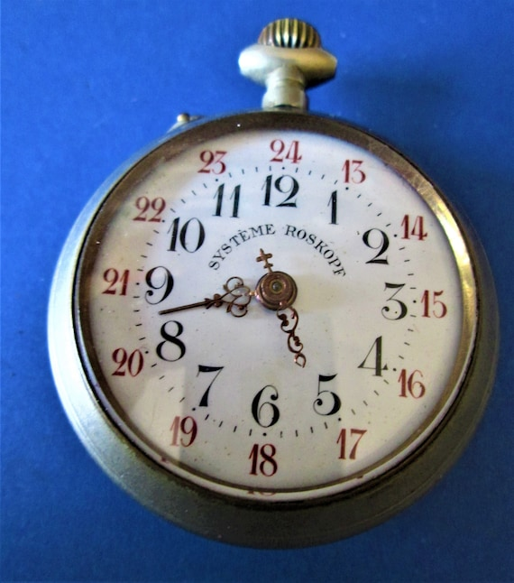 1 Old Partial Systeme Roskoph Brand Pocket Watch for Repairs/Parts - Steampunk Art - Etc..Stk# W47
