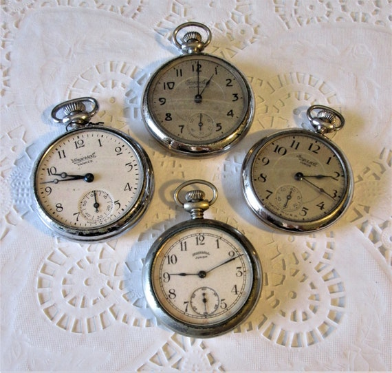 4 Assorted Old Ingersoll Watch Co. Partial Pocket Watches for Repair/Parts  Stk# W63