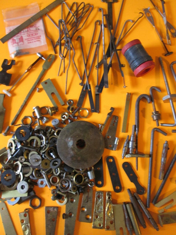 1 Pound of Assorted Parts, Hardware and Misc. Items for your Antique & Vintage Clock Projects,  Steampunk Art Stk#545