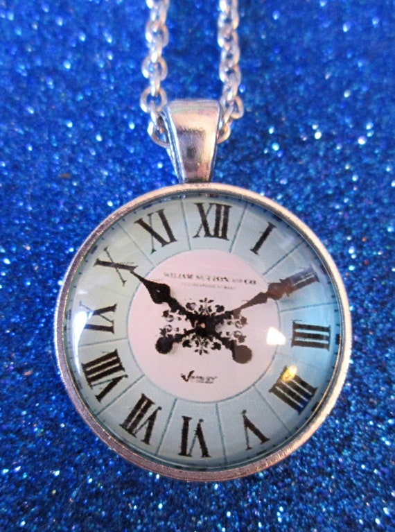 "1 New Domed Glass Blue Clock Design Necklace 1"" Wide with an 18"" Adjustable Chain - Great Gift Idea"