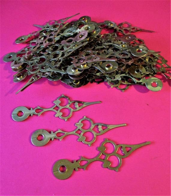 60 Vintage Shiny Brass Plated Steel Serpentine Clock Hour Hands - Make Jewelry - Art - Stk# 214