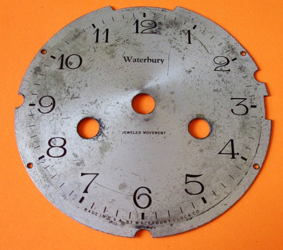 "4 1/4"" Heavy Metal Vintage Waterbury Clock Dial for your Clock Projects , Steampunk Art and Etc..."