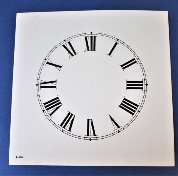"4 1/2"" Dial Size (6 1/2"" x 6 1/2"" Total Size) Thick Paper Clock Dial with 3/8"" Roman Numerals for your Clock Projects, Steampunk Art &.."