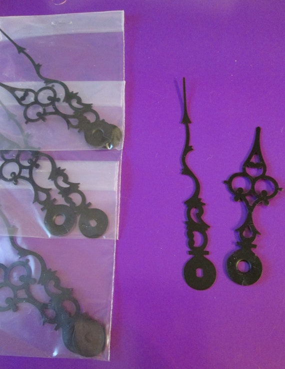 """12 Pairs of New Black Serpentine/Gothic Style Clock Hands for your Clock Projects, Steampunk Art - Jewelry Making 4 1/4"""" and 3 1/8"""""""