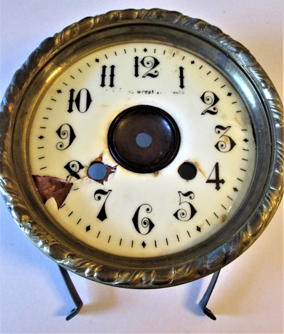 """6"""" Antique Copper, Brass and Porcelain Clock Dial with Mounting Hardware for your Clock Projects, Steampunk Art and Etc.Stk# 929"""
