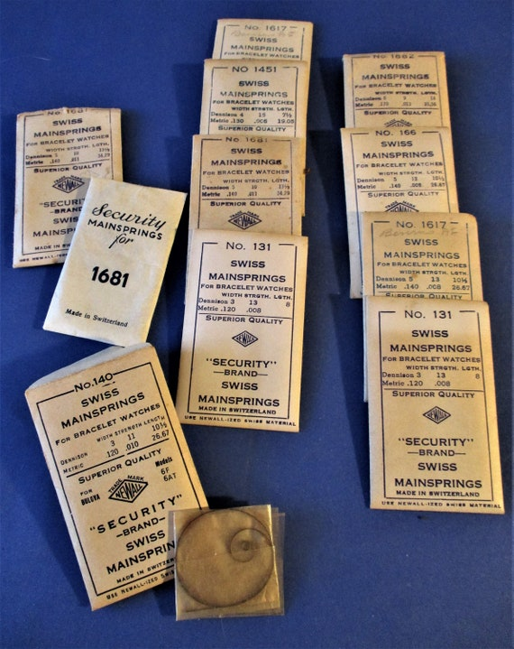 10 Assorted Swiss Made Newall Co. Wrist Watch Mainsprings for your Watch Projects - Steampunk Art -  Stk# W94