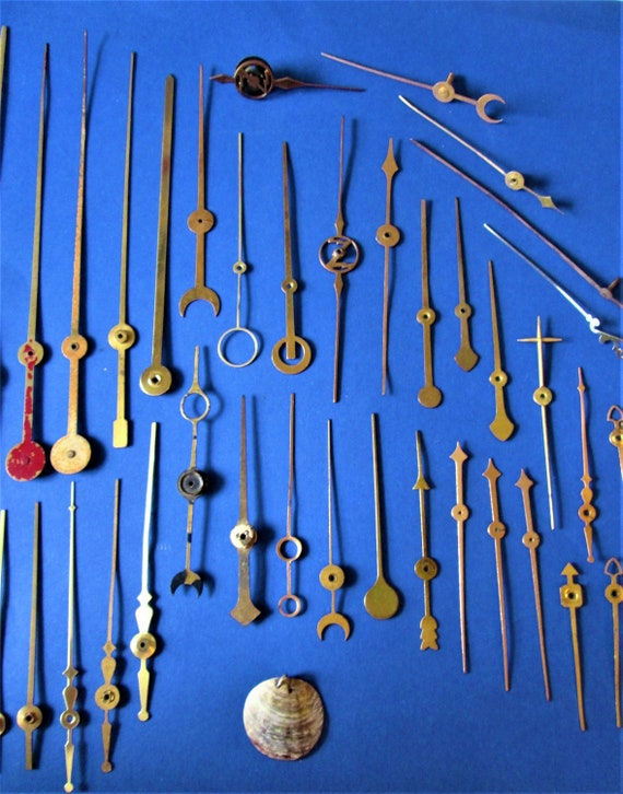 42 Assorted Antique and Vintage Solid Brass Clock Second Hands / Gauge Pointers for your Projects - Steampunk Art & Etc.. Stk# 704