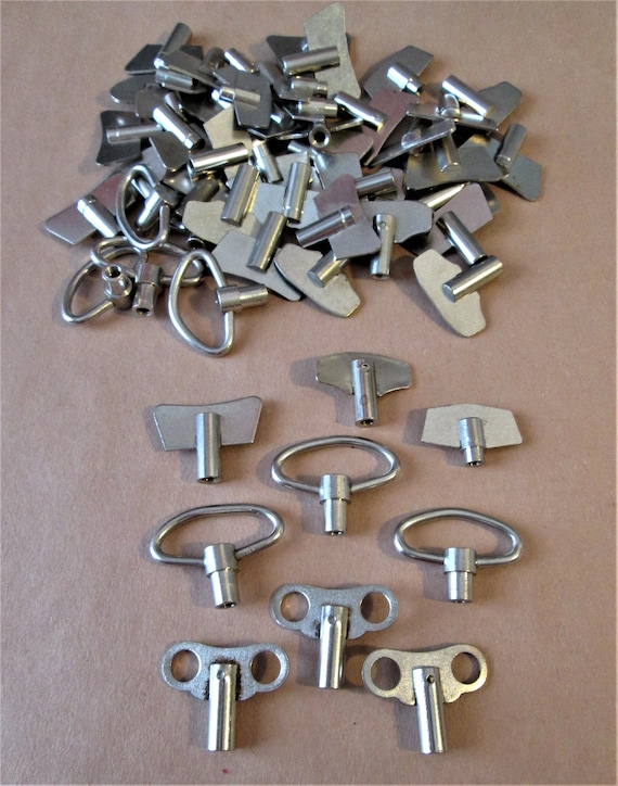 56 Assorted Metal Winding Keys for Clocks, Music Boxes, Toys - Steampunk Art - Jewelry Making - Stk#537