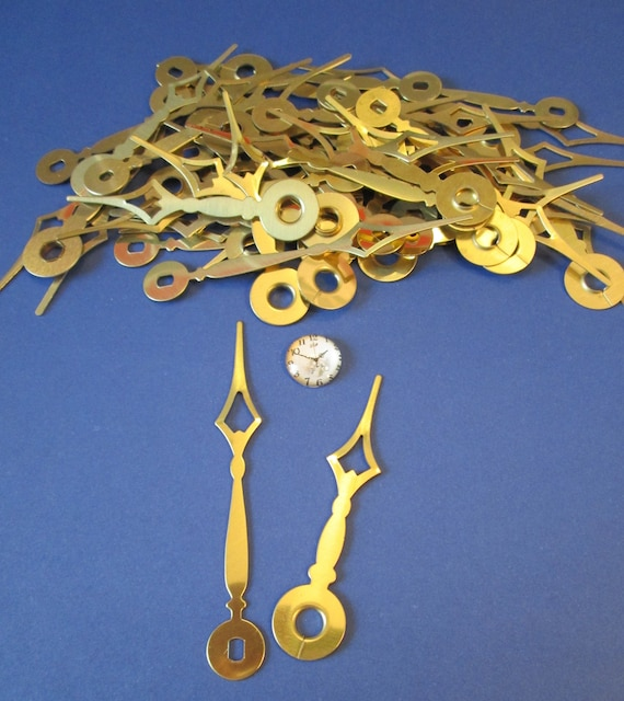 25 Pairs of Vintage Shiny Brass Plated Diamond Design Clock Hands for your Clock Projects - Jewelry Making Stk#242