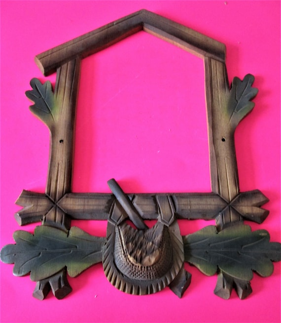 Nice New Reproduction Wood Cuckoo Clock Frame Hunting Theme for your Cuckoo Clock Projects - Crafts