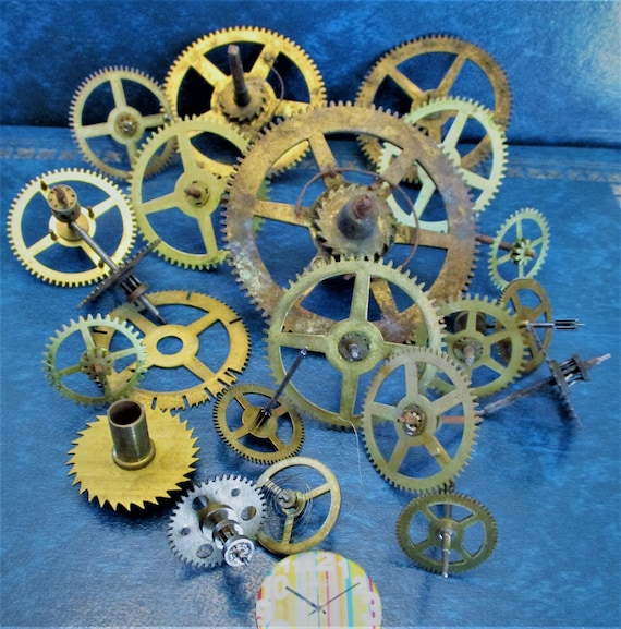 20 Assorted Large and Medium Sized Antique Clock Wheels With Other Parts Attached for your Clock Projects - Steampunk Art - Stk# 396