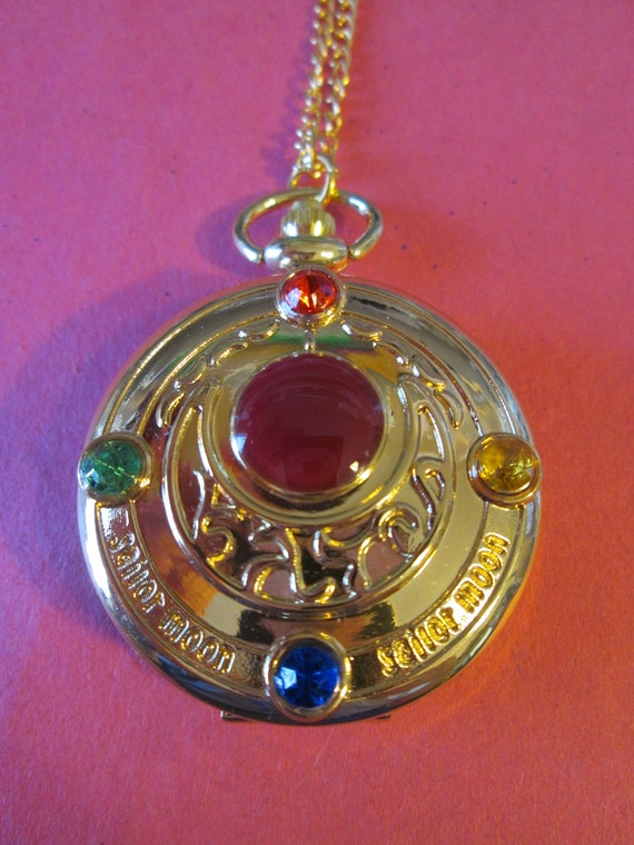 "1 New Shiny Brass Plated Sailor Moon Design With Bling Quartz Pocket Watch Pendant -  With 32"" Chain"