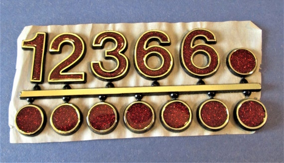 1 Gold Plastic with Red Sparkled Press On Clock Numbers and Dots for your Clock Projects, Scrap Booking, Steampunk Art Stock#61