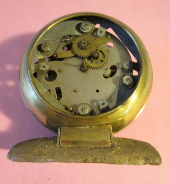 "Old & Worn 3 1/4"" Wide Partial Vintage Clock Works With Brass Plated Frame for your Clock Projects,  Steampunk Art"
