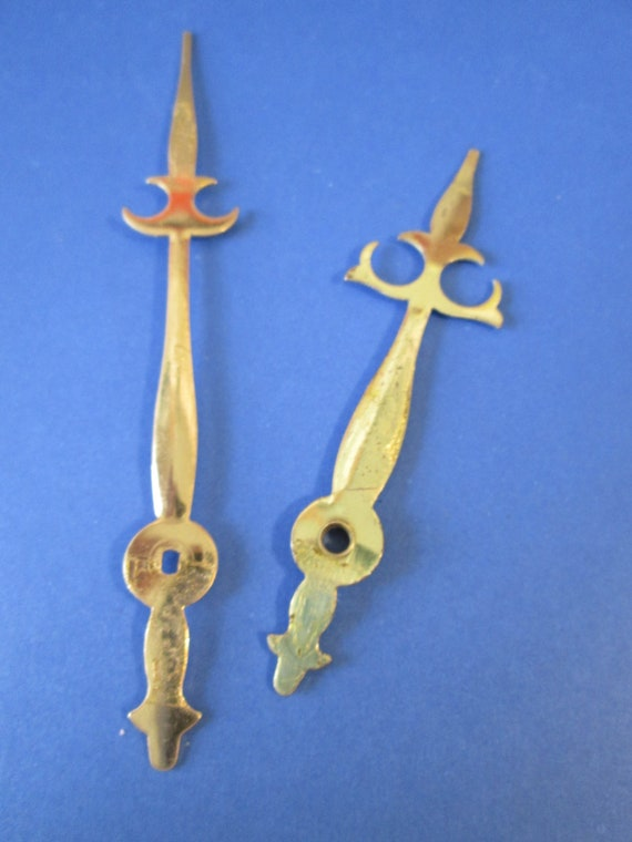 1 Pair of Vintage Solid Brass Trident Style Clock Hands for your Clock Projects, Jewelry Making - Steampunk Art - Crafts