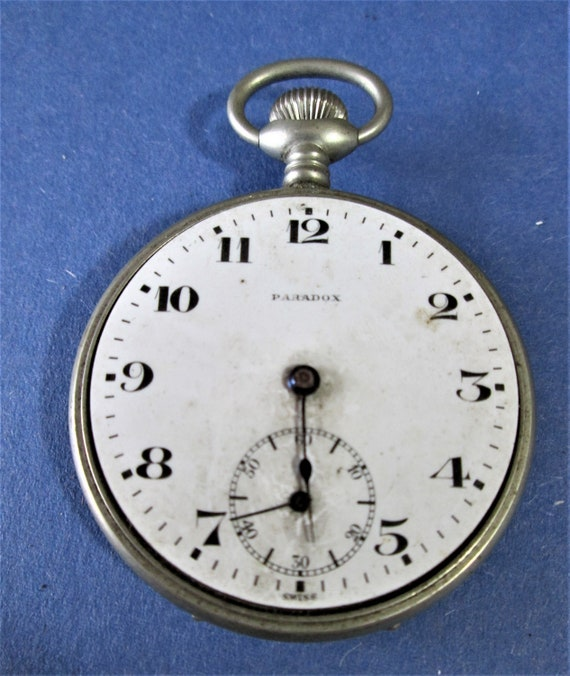 Vintage Swiss Made Gereral Watch Co. Paradox Partial Pocket Watch for Parts/Repair  Stk# W57