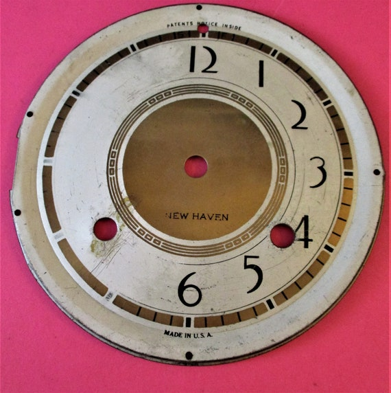 """5 3/4"""" New Haven Clock Co. Painted Thick Pressed Aluminum Clock Dial Stk # 384"""