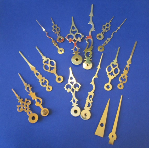 8 Assorted Pairs of Shiny Brass Plated Steel and Aluminum Clock Hands for your Clock Projects - Jewelry Making Stk#213
