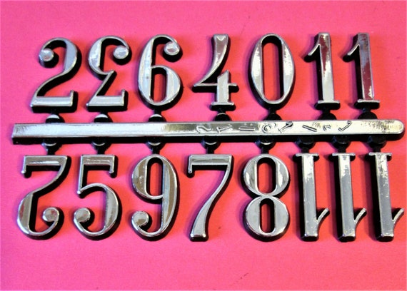 """1 Set of 3/4"""" Shiny Silver on Black Backround Plastic Numbers for your Clock Projects, Scrap Booking, Steampunk Art Stock#7"""