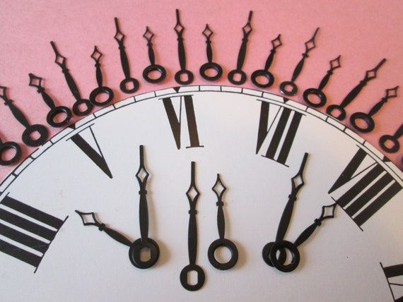 20 Pairs of Small Black Steel Diamond Design Clock Hands for your Clock Projects - Steampunk Art - Jewelry Crafts  Stk#250