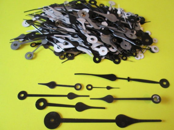 Large Lot of Assorted Black Painted Aluminum Spade Design Clock Hands for your Clock Projects, Jewelry Making, Steampunk Art Stk#206