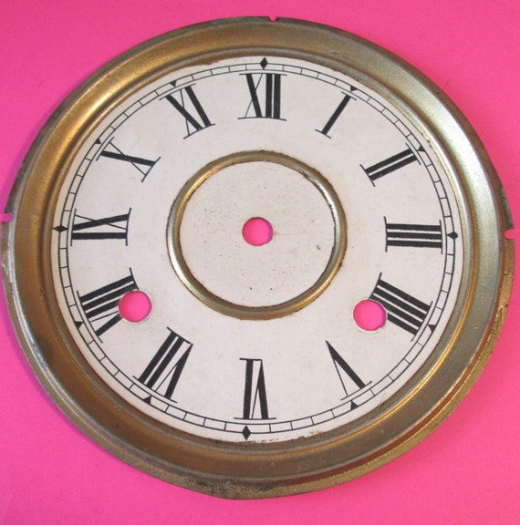 "Old 6 3/8"" Paper Clock Dial with 3/4"" Roman Numerals for your Clock Projects, Steampunk Art..."