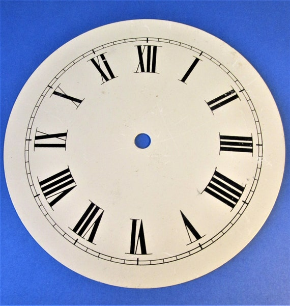 """Heavy Painted Steel 7 1/2"""" Clock Dial with 7/8"""" Tall Roman Numerals for your Clock Projects, Steampunk Art...Stk#620"""