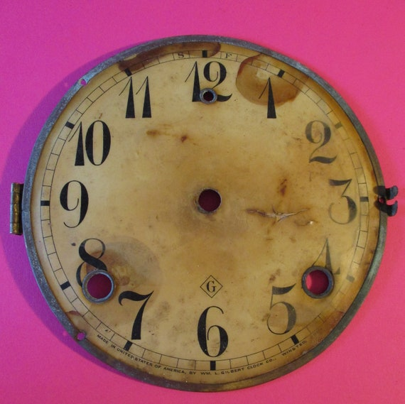 "5 1/2"" Antique Gilbert Clock Dial - Paper on a Steel Pan - for your Clock Projects - Art - Stk# 783"