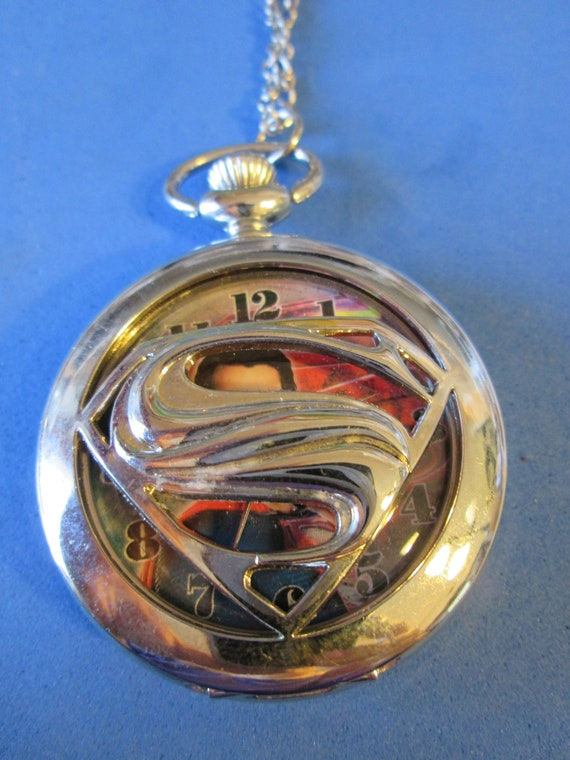 "1 New Superman Quartz Pocket Watch Pendant - Chrome with 32"" Chain - Great Gift for Superman Lovers"