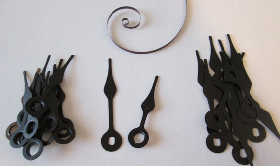 12 Pairs of Vintage Black Painted Copper Spade Style Clock Hands for your Clock Projects, Jewelry Making, Steampunk Art