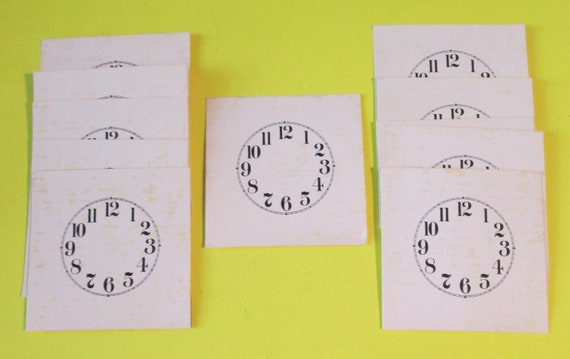 "10 Old Thick Paper 1 5/8"" Round Small Clock Dials for your Antique / Vintage / New  Clock Projects - Art Projects - Steampunk"