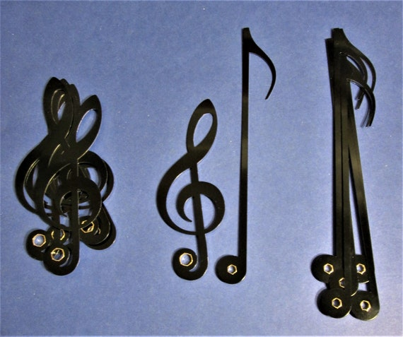 12 Pairs of New Shiny Black Aluminum Musical Note Clock Hands with Silver Second Hands for your Clock Projects - Steampunk Art, and Etc.