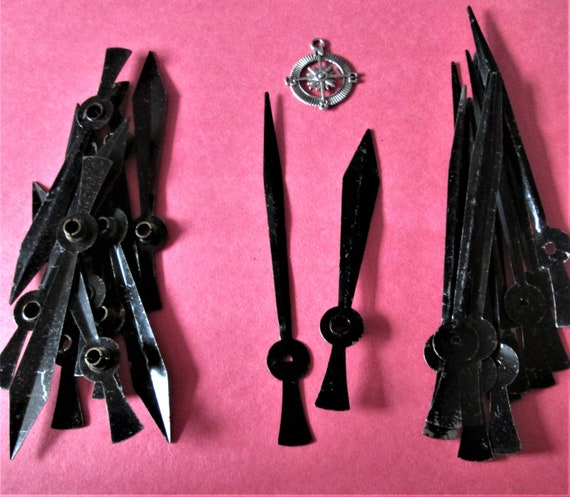 10 Pairs of Vintage Shiny Painted Black Steel Sword Design Clock Hands for your Clock Projects Jewelry - Steampunk Art and Etc.. Stk #662