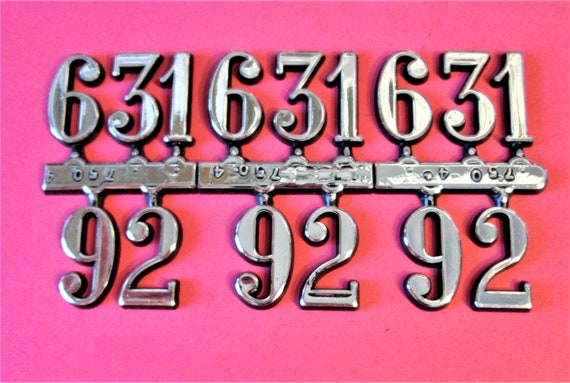 """3 Set of 3/4"""" Shiny Silver on Black Backround Plastic Numbers 12 3 6 9 for your Clock Projects, Scrap Booking, Steampunk Art Stock#5"""