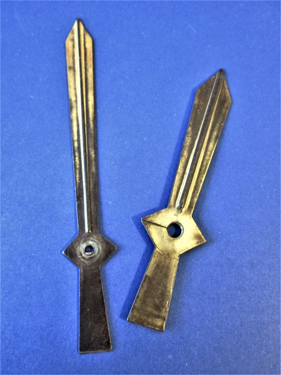 1 Pair of Old and Tarnished Solid Brass Sword Design Clock Hands for your Clock Projects, Steampunk Art  Etc.
