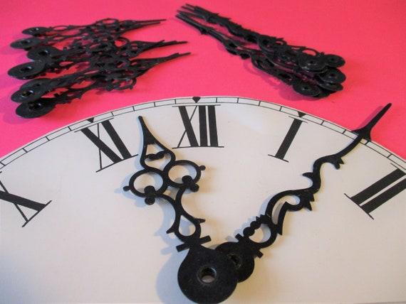9 Pairs of Black Painted Steel Serpentine/Gothic Style Clock Hands Mechanical Clocks - Steampunk Art -  Stk#735