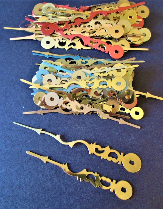 """50 Vintage 3 3/8"""" and 50 4 3/8"""" Long Shiny Brass Plated Steel Serpentine Style Clock Minute Hands for Jewelry Making - Art & Etc..Stk# 349"""